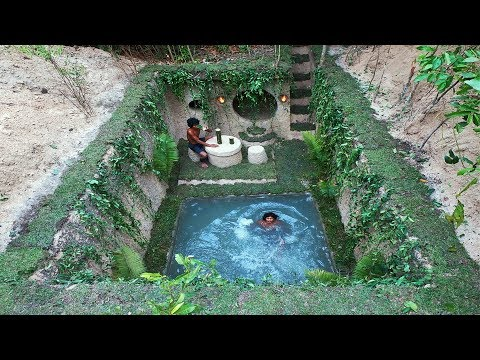 Build most beautiful natural underground villa and swimming pool