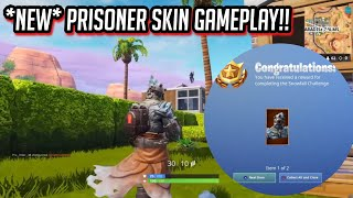 """First Gameplay of NEW """"PRISONER"""" SKIN in Fortnite! (60/60 Snowfall challenges complete)"""