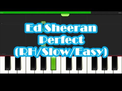 Ed Sheeran Perfect Right Hand Slow Easy Piano Tutorial - Notes