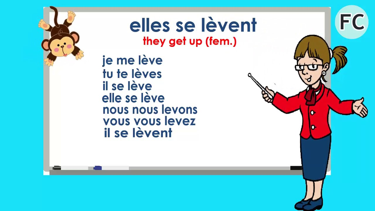 Le Verbe Se Lever Au Present To Get Up Present Tense French Conjugation Youtube