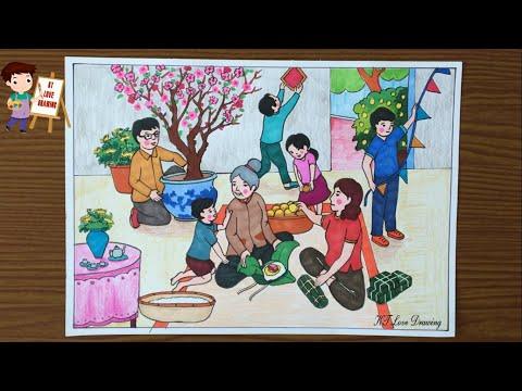 Vẽ tranh đề tài gia đình: Chuẩn bị đón Tết 2021 | Vẽ ngày tết và mùa xuân | How to draw family