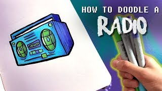 HOW TO DOODLE A RADIO !!   Step by Step Tutorial for Kids   Doodle Friday No.4