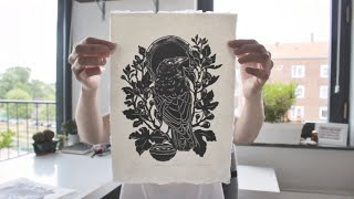 Linocut carving and printing  short film by Maarit Hänninen