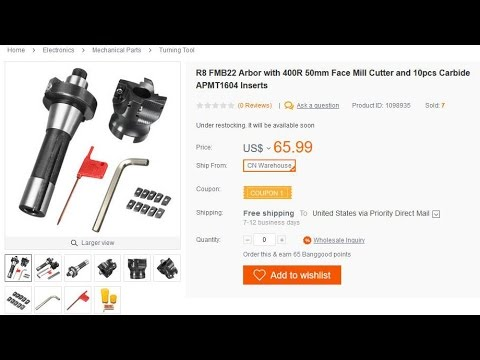 Banggood R8 Arbor and Face Mill Cutter Review