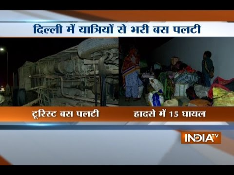 15 injured as tourist bus crashes into divider in Delhi
