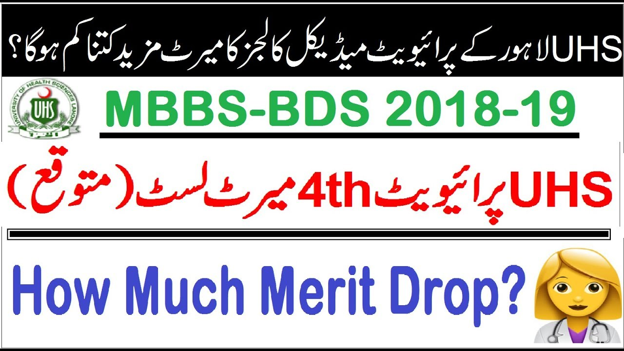 Repeat UHS Private/4th Merit List (Expected) MBBS/BDS 2018-19 by