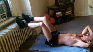 Super Lean Man - Abs Double Crunches + Bicycles Exercise