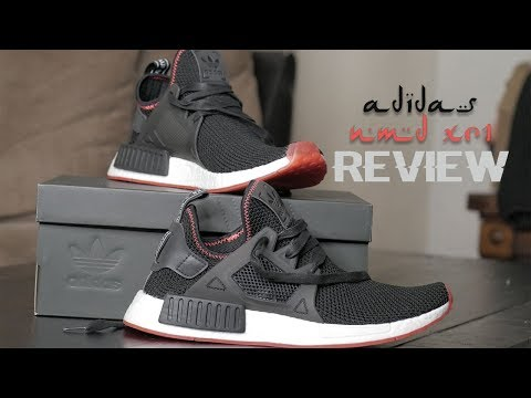 Adidas NMD XR1 Boost Core Black/Solar red review + try on