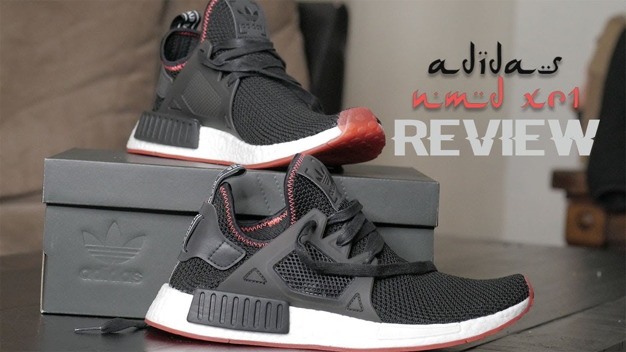 e99b2804de427 Adidas NMD XR1 Boost Core Black Solar red review + try on - YouTube