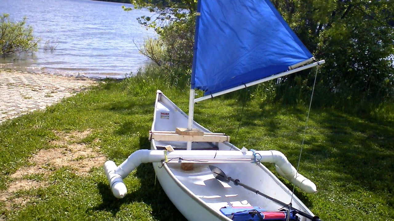 Make a simple Sail for your Canoe,Kayak,Dingy for under $20 the Maiden Voyage - YouTube