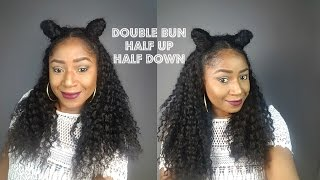 DOUBLE BUNS HALF UP HALF DOWN WITH A WIG
