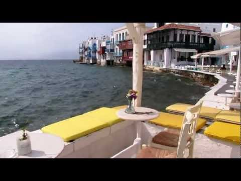 Mykonos windmills & Little Venice seaside cocktail bar strip MVI_1575