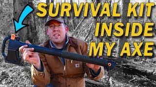 Wilderness Survival Kit inside my axe - DIY survival kit & paracord wrap ax handle
