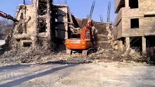 Демонтаж здания. Аренда гидромолота(Демонтаж здания в Самаре с помощью гидромолота. Аренда гидромолота ..., 2014-04-07T07:54:59.000Z)