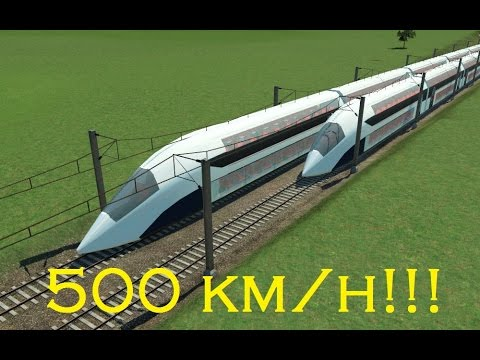 Transport fever cab ride - GTX Future Train - High speed rail (500 km/h)