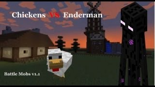 Minecraft Chickens VS Enderman Battle Mobs v1.1