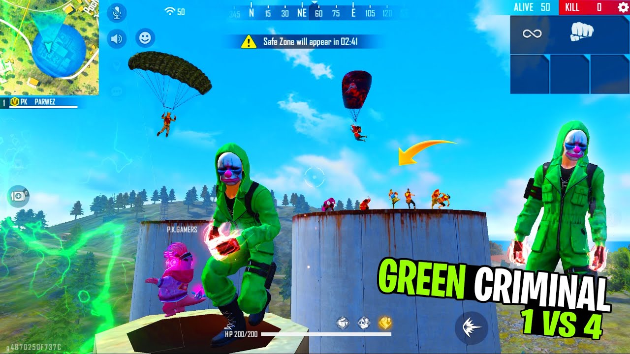 Garena Free Fire King Of Factory Fist Fight With Green Criminal Bundle Playing free fire - PK Gamers