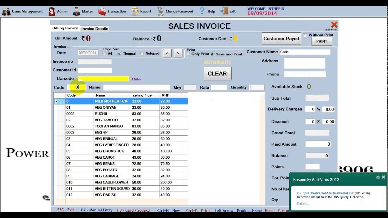 Latest Supermarket Billing Software Maligai Kadai Admin