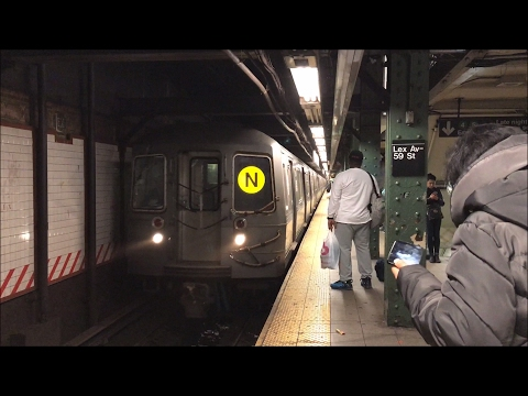 NYC Subway HD 60fps: N & R Train Action @ Lexington Avenue - 59th Street Station (2/19/17)