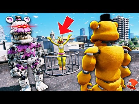 Can Buff Freddy Save Toy Chica From Evil Nightmare Funtime Freddy? (GTA 5 Mods FNAF RedHatter)