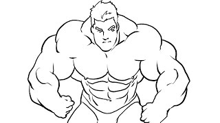 How I draw a bodybuilder Manga style part 2 (ink)