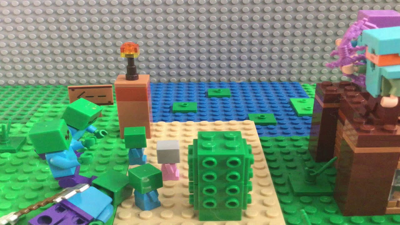 Lego Minecraft Zombie Apocalypse- Lego stop motion - YouTube