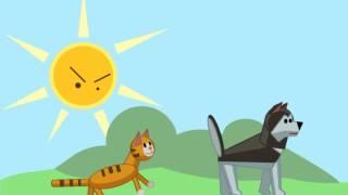 аниме кошка и собака здороваются