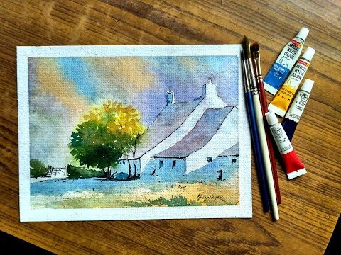 Light and shadow watercolor landscape painting