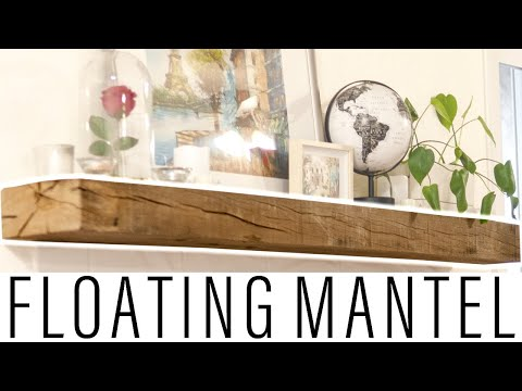 Making a Rustic DIY Floating Wooden Mantel | Fireplace Floating Shelf