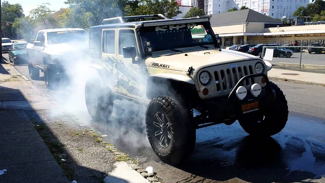 jeep 4wd burnout - ripp supercharged 2012 wrangler blazes tires