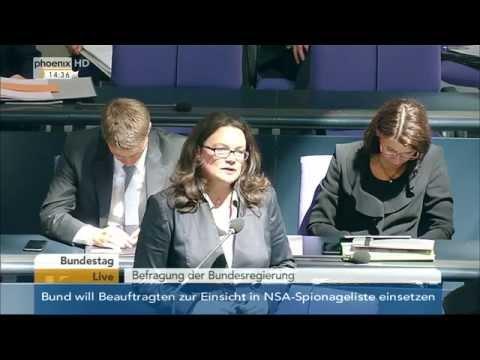 Regierungsbefragung: Andrea Nahles zu Öffnung des Arbeitsmarktes für Kroaten am 17.06.2015