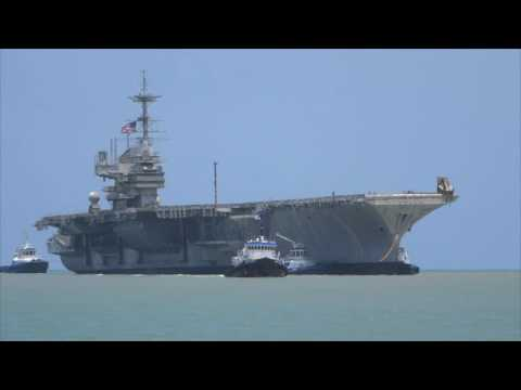 6-1-2017 USS Independence CV-62 final voyage into Brownsville, TX scrapyard