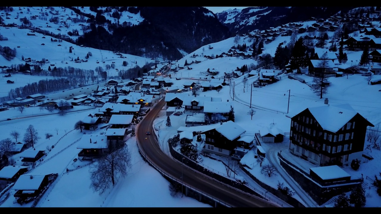 The nightfall of Grindelwald Switzerland - 4K drone footage with Mavic Pro