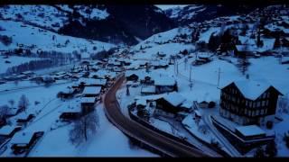 The nightfall of Grindelwald Switzerland - 4K drone footage with Mavic Pro