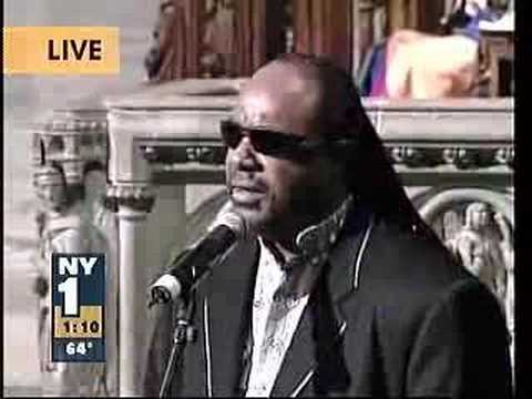 Stevie Wonder at Luther Vandross' funeral