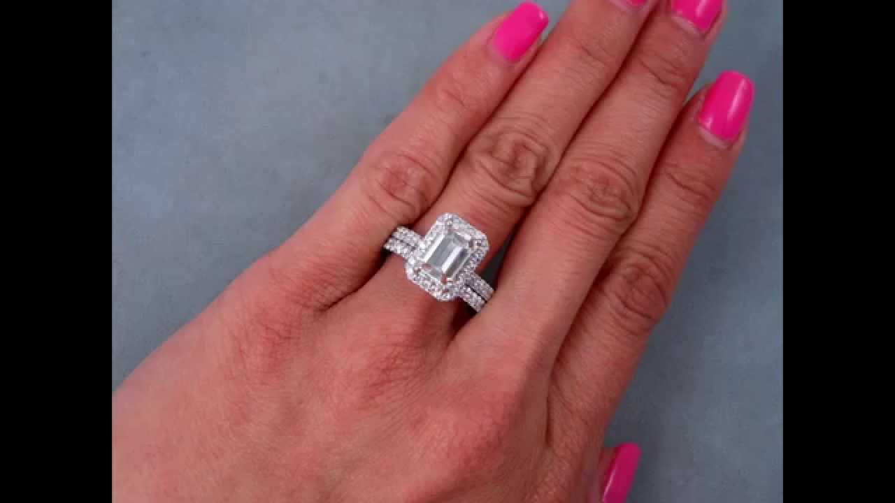 279 ctw emerald cut engagement ring and wedding band set bigdiamondsusa youtube - Emerald Cut Wedding Rings