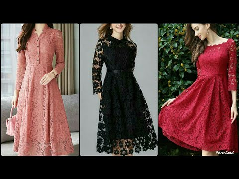 Stunning Vintage V-neck Tie Waist Sheer Lace Midi Dress Design Outfits For Woman