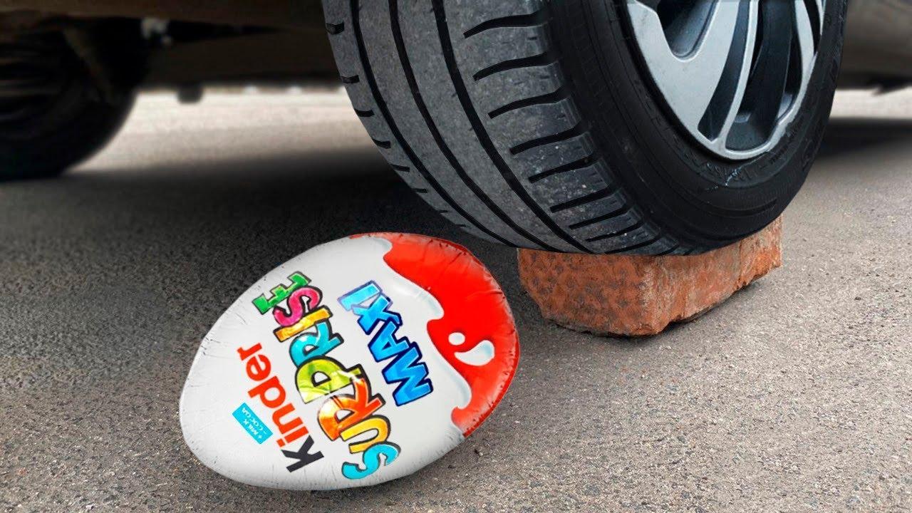 Experiment: Car vs Big Kinder Egg | Crushing Crunchy & Soft Things by Car