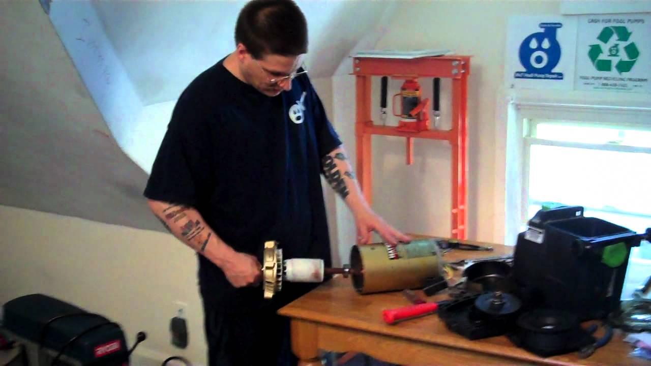 Pool Pump Repair [ Hayward] - How To Remove Pump Motor Bearings ...