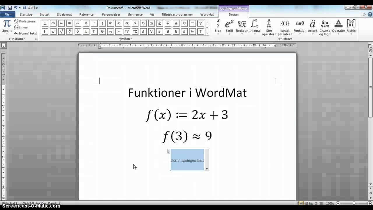 hvordan bruger man wordmat