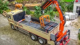 RC crane truck in huge 1/8 scale in Action! Amazing detailed R/C model!