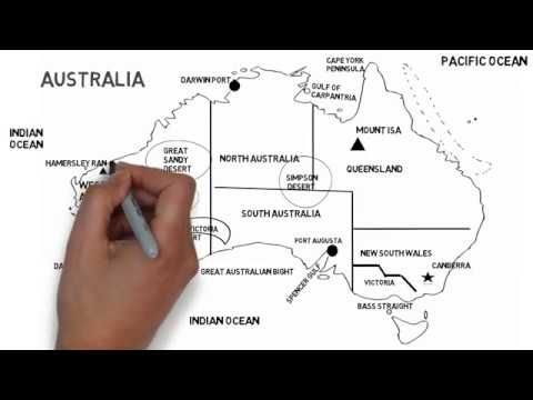 Physical Map Of Australia (Deserts, Mountains And States)
