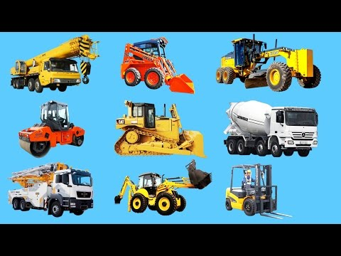 Learning construction vehicles names and sounds for kids. Trucks equipment & heavy vehicles
