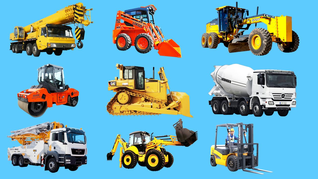 Learning Construction Vehicles Names and Sounds for kids Machinery