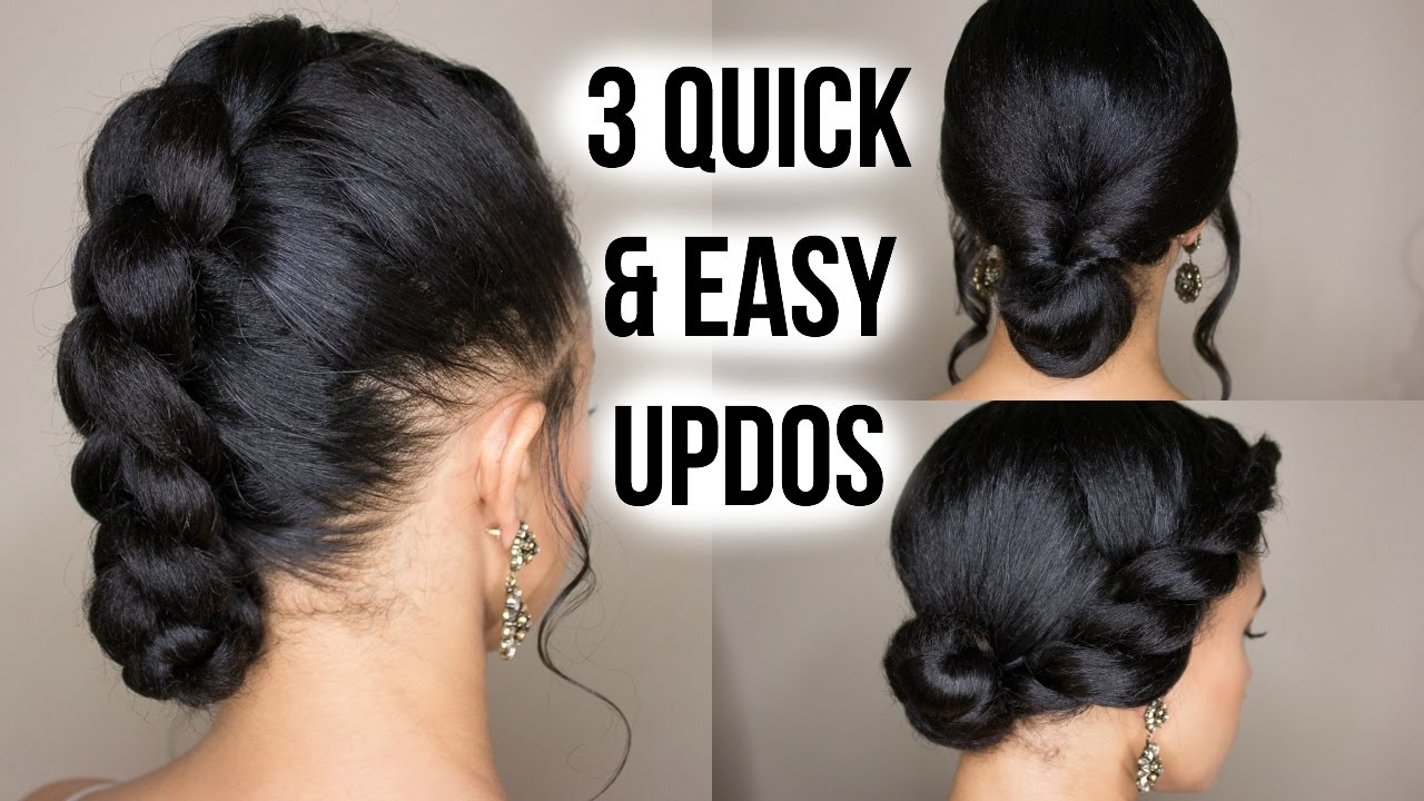 3 Quick Easy Updo Hairstyles On Straightened Natural Hair Youtube