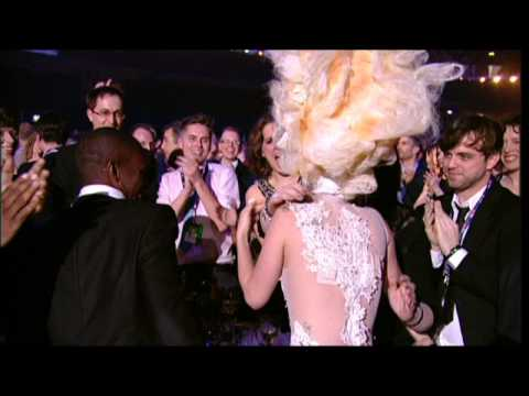 Lady Gaga wins International Album presented by Mika | BRIT Awards 2010