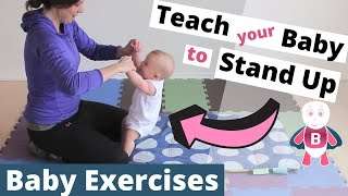 Baby Playtime Exercises 👶❤️#3-6 Months - Sit Up - Stand Up - Baby Activities, Baby Development