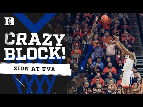 Zion Williamson INSANE Block at UVA!!!