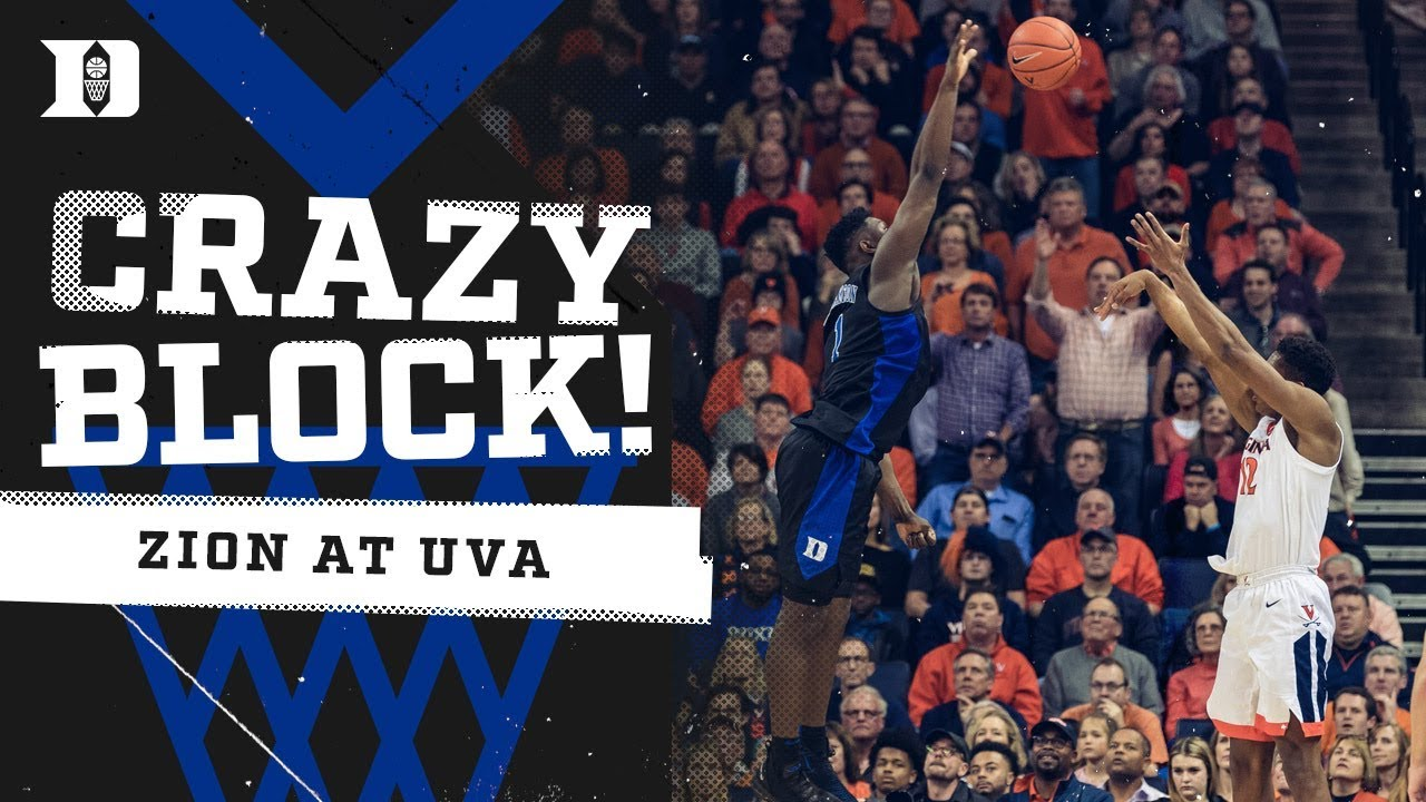 cddd2d877fcd Zion Williamson INSANE Block at UVA!!! Duke Basketball