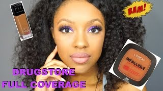 drugstore full coverage foundation and glowy skin tutorial   taylor anise